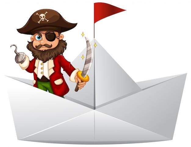 Pirata com espada em pé no barco de papel Vetor grátis