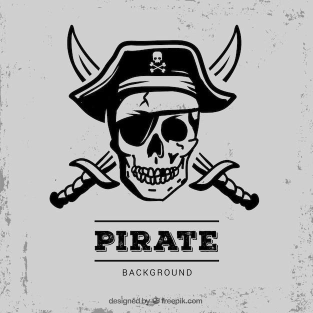 Pirata, cranio, fundo, espadas Vetor Premium