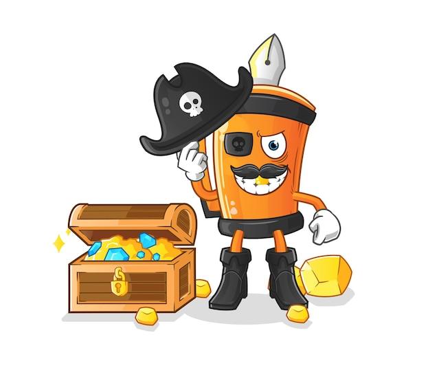 Pirata de caneta engraçada com desenho de ilustração de mascote do tesouro Vetor Premium