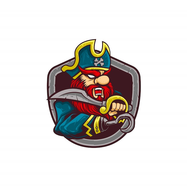 Pirata de logotipo de mascote de ilustração Vetor Premium