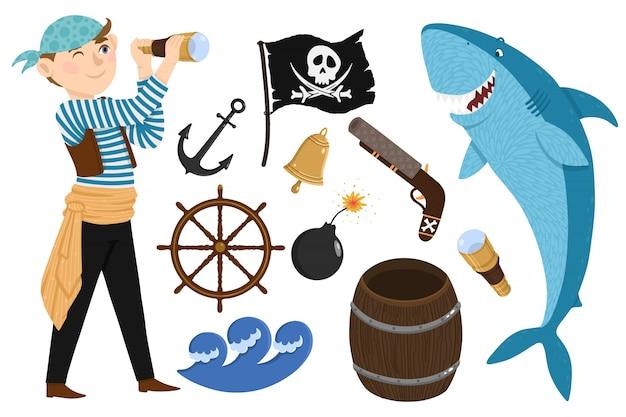 Pirata definido no estilo dos desenhos animados Vetor Premium