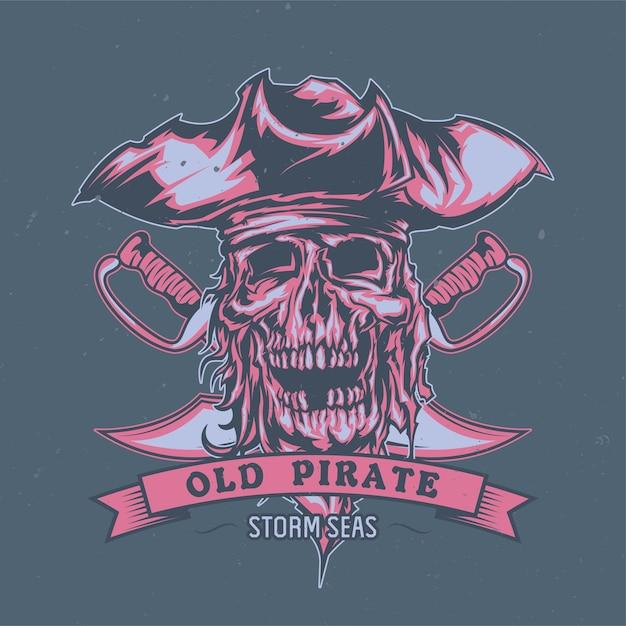 Pirata morto ilustrado no chapéu. Vetor grátis