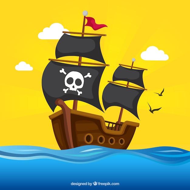 Pirata, navio, fundo Vetor Premium