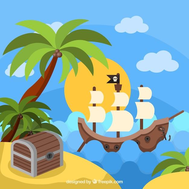 Pirata, Navio, Logo, Ilha, Tesouro