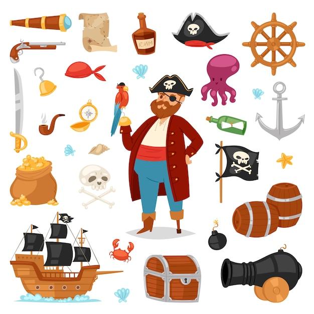Pirata pirata bucaneiro homem fantasiado de pirata no chapéu com espada conjunto de ilustração de sinais de pirataria e navio ou veleiro em fundo branco Vetor Premium