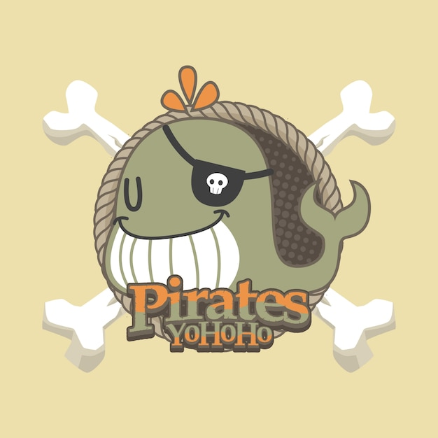 Piratas bonitos dos desenhos animados de fundo vector Vetor Premium