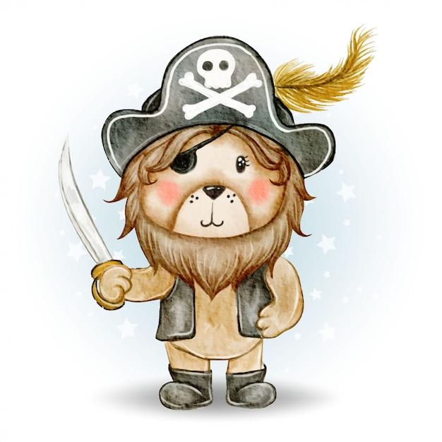 Piratas bonitos leão rei ilustração aquarela Vetor Premium