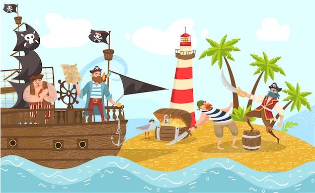 Piratas do mar no navio pirata, ilustração de personagens de desenhos animados de corsários com aventura de ilha do tesouro. Vetor Premium