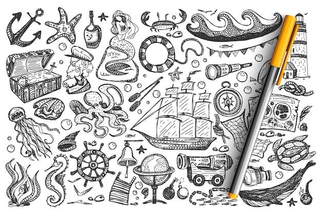 Piratas doodle conjunto. Vetor Premium