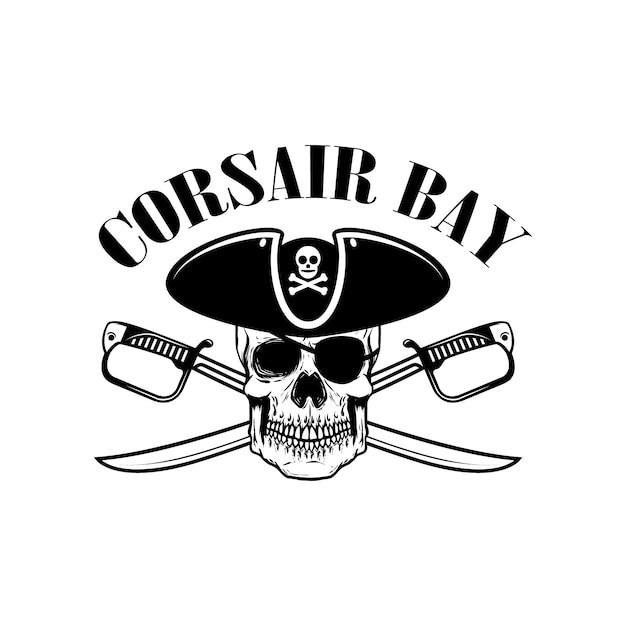 Piratas. modelo de emblema com espadas e caveira pirata. elemento para o logotipo, etiqueta, emblema, sinal. ilustração Vetor Premium