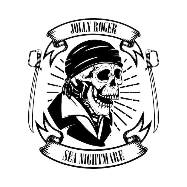 Piratas. modelo de emblema com espadas e caveira pirata. Vetor Premium