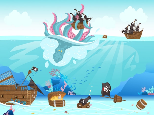 Piratas navio naufrágio, polvo gigante tomando vela preta para ilustração dos desenhos animados de fundo do mar. Vetor Premium