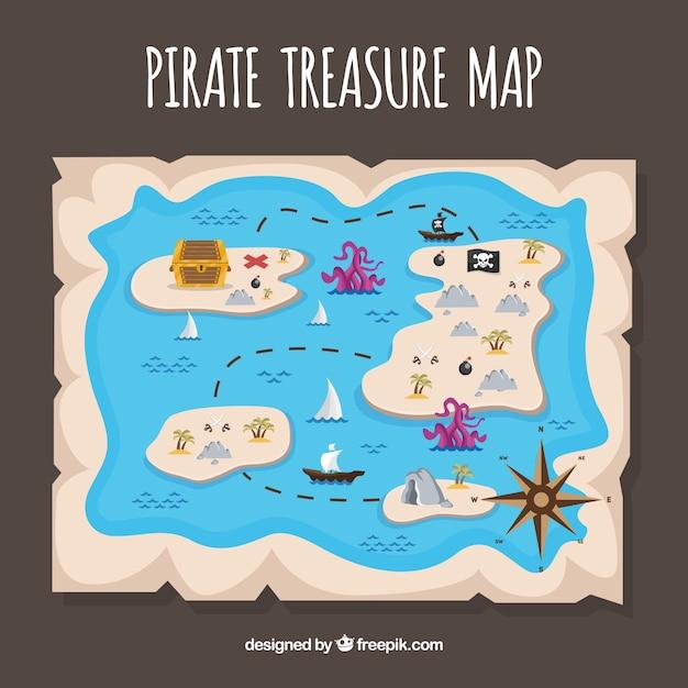 Pirate mapa do tesouro com várias ilhas Vetor grátis