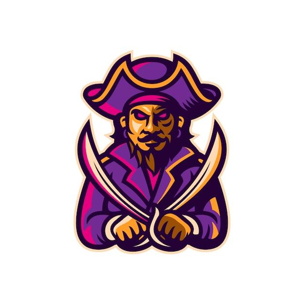Pirate mascot esport logotipo modelo ilustração vetorial Vetor Premium