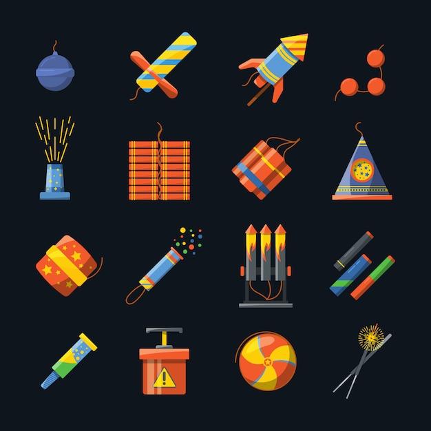 Pirotecnia para feriados e diferentes ferramentas para show de fogo. conjunto de ícones do vetor de foguete pirotécnico e dinossauro petard, foguete e bomba em ilustração de estilo simples Vetor Premium