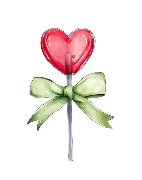 Pirulito vermelho em forma de coração com um grande laço verde Vetor Premium