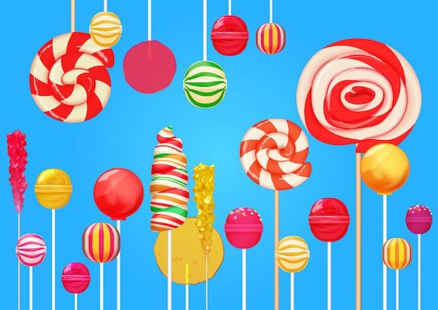 Pirulitos brilhantes doces fundo doces Vetor Premium