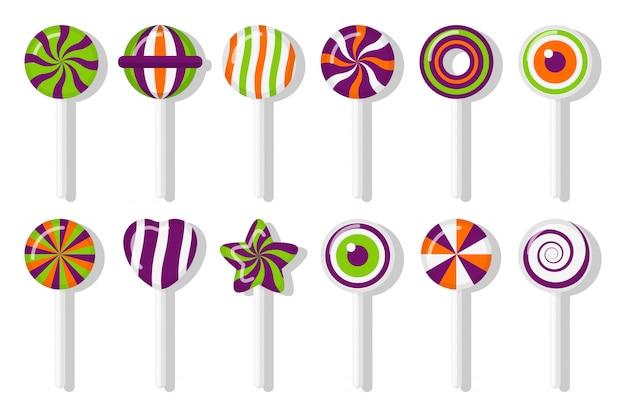 Pirulitos doces de halloween com conjunto padrão espiral diferente. deleite colorido para o feriado principal em outubro. estrela de bastão de doces de açúcar doce, coração, olho com design trançado. ilustração isolada Vetor Premium