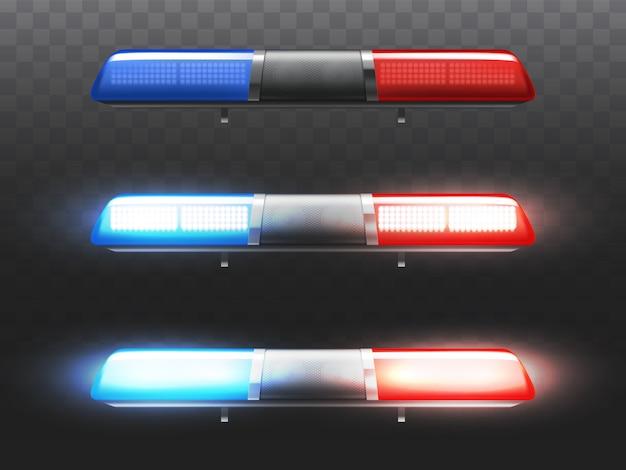 Pisca-pisca conduzido vermelho e azul realístico 3d para o carro de polícia. sinal de xenônio do serviço municipal. Vetor grátis