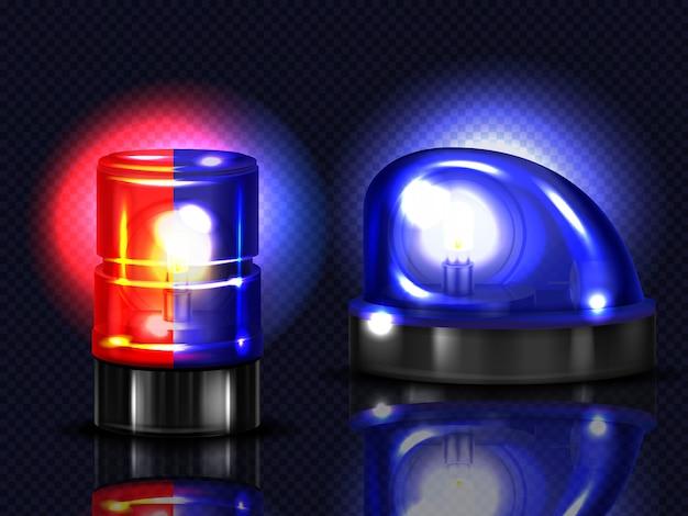 Pisca-pisca vermelhos e azuis realistas 3d. polícia, ambulância ou outra sirene de serviço municipal Vetor grátis