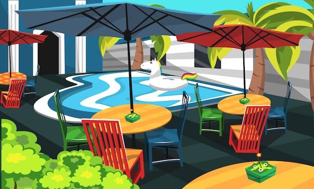 Piscina cafe com piscina Vetor Premium