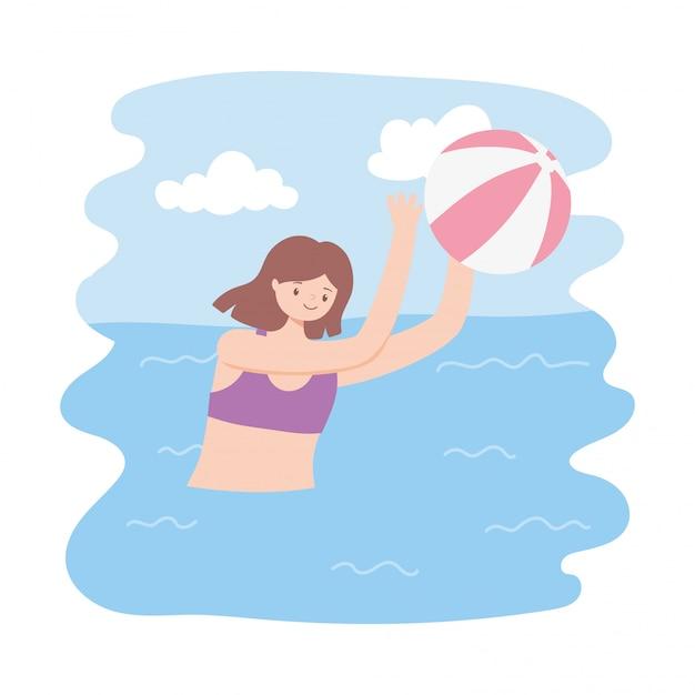 Piscina de verão com meninas e inflável, jogando bola Vetor Premium