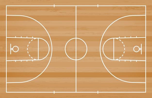 Piso de quadra de basquete com linha em fundo de textura de madeira Vetor Premium