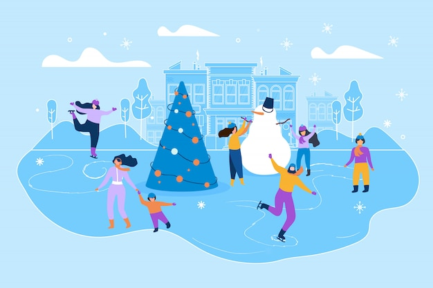 Pista de gelo de ilustração plana na grande cidade de rua. Vetor Premium