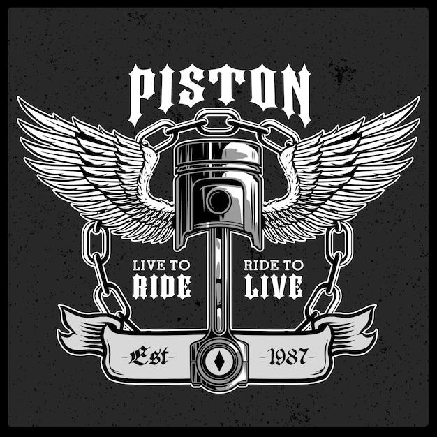 Pistão de motocicleta com logotipo de vetor de asas Vetor Premium