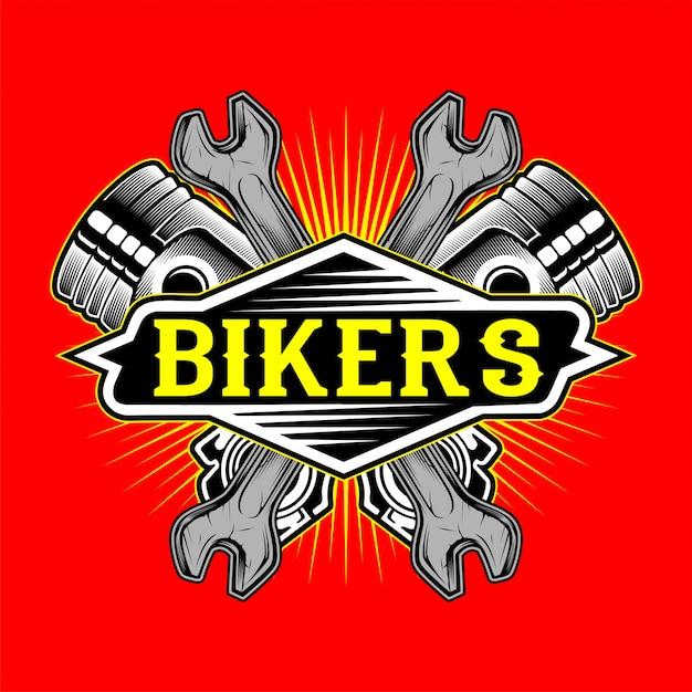Pistão e chave de logotipo de motociclistas de estilo grunge Vetor Premium