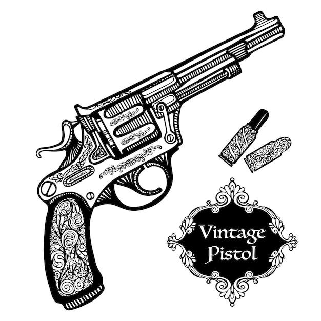 Pistolas retrô desenhadas à mão Vetor grátis