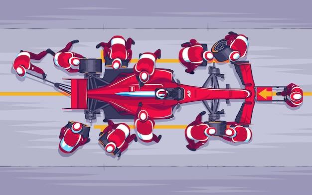 Pit stop nas corridas. substituindo rodas na corrida. Vetor Premium