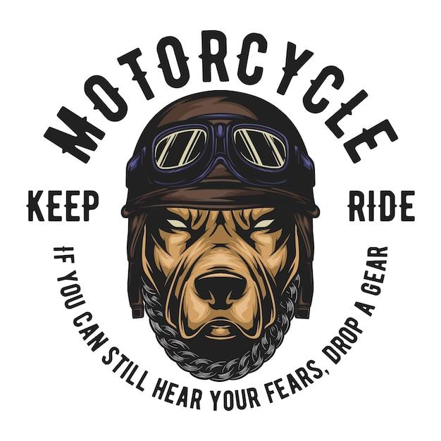 Pitbull usa capacete de piloto vintage, texto fácil de mudar Vetor Premium