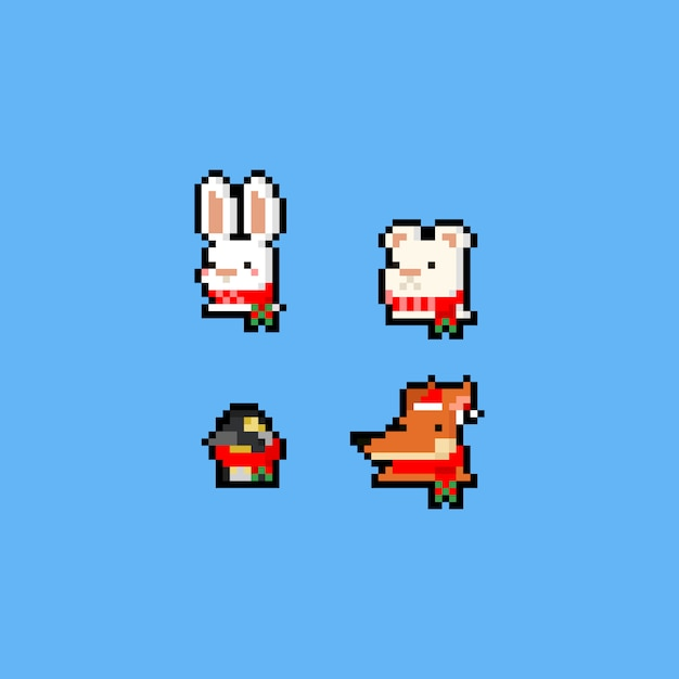 Pixel art 8bit conjunto de ícones de animais de natal. Vetor Premium