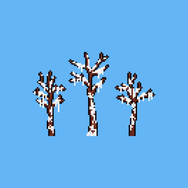 Pixel art árvore morta coberta de neve. Vetor Premium