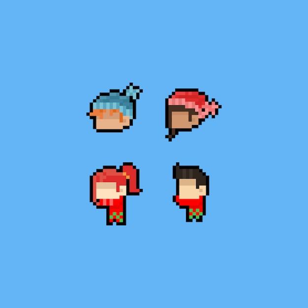 Pixel art cartoon cabeça ícones com cachecol e chapéu de inverno. Vetor Premium