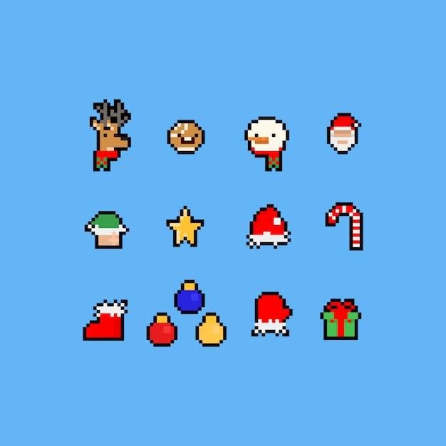 Pixel art dos desenhos animados conjunto de ícones de natal. Vetor Premium