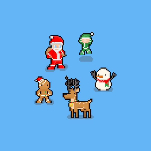 Pixel art engraçado dos desenhos animados conjunto de caracteres de natal Vetor Premium