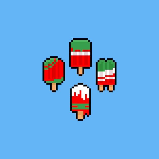 Pixel arte dos desenhos animados natal sorvete conjunto de ícones. Vetor Premium