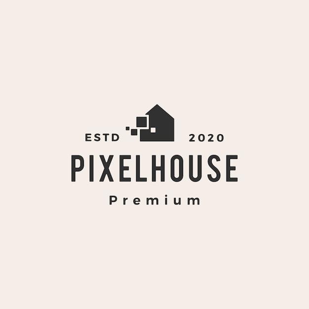 Pixel casa hipster vintage logotipo icon ilustração Vetor Premium