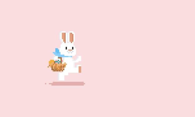 Pixel correndo coelho com cesta de ovos de páscoa Vetor Premium