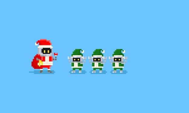 Pixel robô santa e três robô elfo Vetor Premium