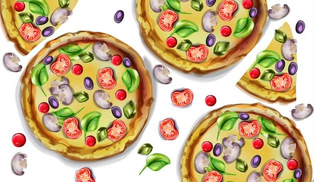 Pizza aquarela Vetor Premium