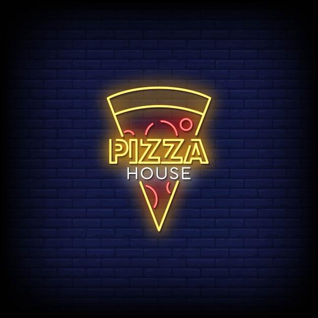 Pizza casa com sinais néon estilo texto Vetor Premium