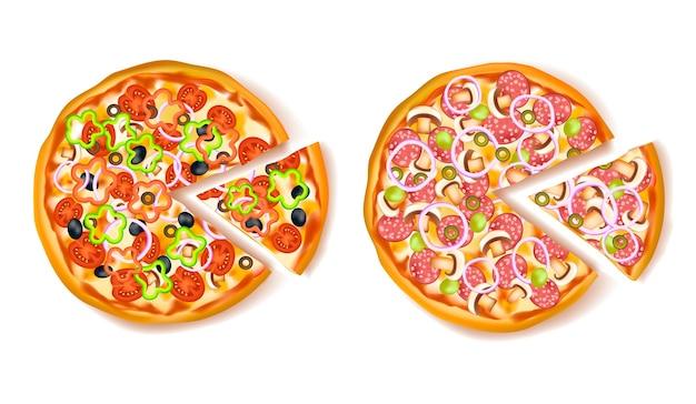 Pizza com composição de fatia Vetor grátis