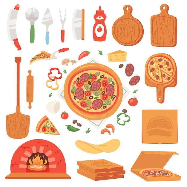 Pizza comida italiana com queijo e tomate no conjunto de ilustração pizzaria ou pizzaria de torta assada de pizzaoven na itália Vetor Premium