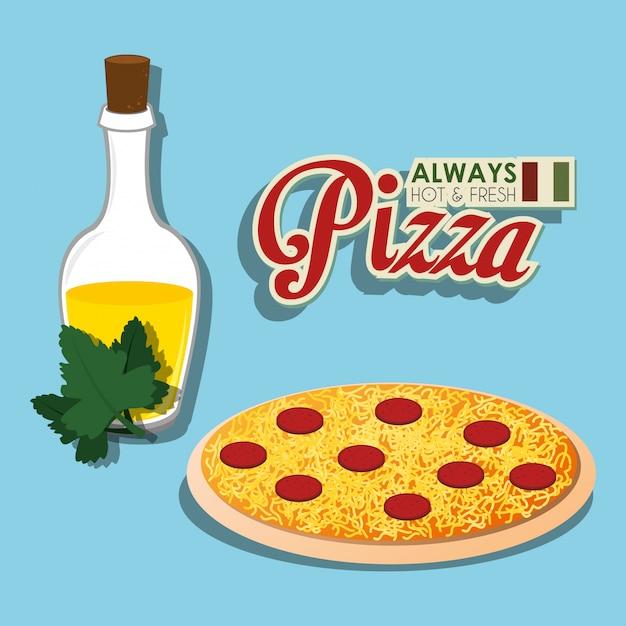 Pizza comida italiana Vetor grátis