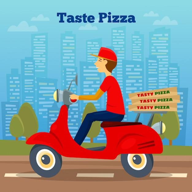 Pizza courier em scooter Vetor Premium