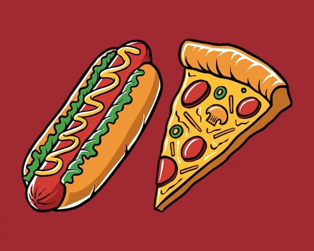 Pizza de cachorro quente da ilustração Vetor Premium