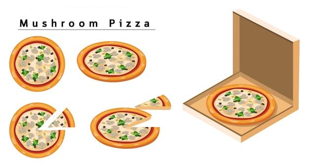 Pizza de cogumelo Vetor Premium